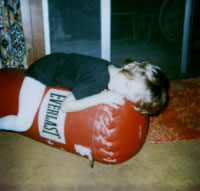 Me as a wee-warrior taking a snooze!